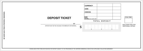 3 Per Page Business Deposit Tickets
